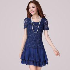 22f5377680e3 Blue Slim Lace Chiffon Short Sleeve Big Size Dress