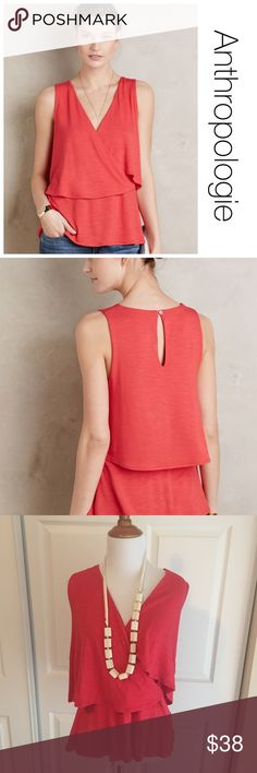 NWOT Anthropologie Deletta Valma tiered tank M ♦️NWOT. No holes, stains or piling ♦️Materials- 95% rayon/5% spandex ♦️Measurements:                               ♦️Laying flat armpit to armpit: approximately 19 inches   ♦️Laying flat from the back of the neck to the bottom of the front hem is approximately 25 inches Anthropologie Tops Tank Tops