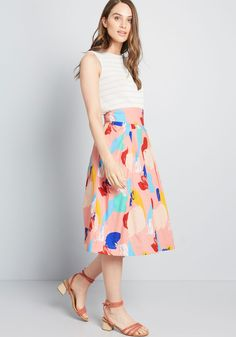 Looking for additional retro options in your closet? Then it's time to rock the colorful brushstroke print of this cotton skirt! Cotton Skirt, Mom Style, Modcloth, Pink Roses, Hue, New Look, Perfect Fit, Midi Skirt, Skirts