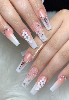 We've rounded up super pretty nail ideas and colors we're sure that will wow neither will a matching crisp-white mani, nail art designs with. Bling Acrylic Nails, White Acrylic Nails, Rhinestone Nails, Bling Nails, Swag Nails, Coffin Nails, Rhinestone Nail Designs, Grunge Nails, White Nail Art