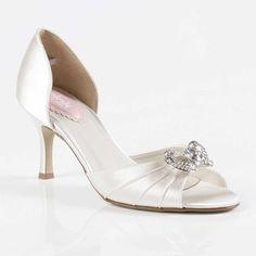 Wedding Shoes Mid Heel Satin White 10cm Heel 1.5cm Platform ...