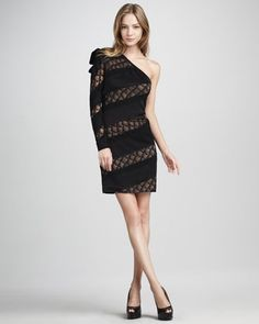 Noemi One-Sleeve Lace-Panel Dress - Neiman Marcus