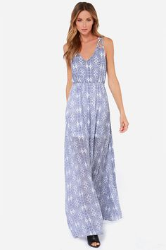 LULUS Exclusive Sew Into You Navy Blue Print Maxi Dress at LuLus.com!