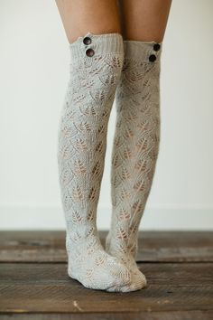 Gray Knitted Boot Socks Lacy Knit Socks Boot by ThreeBirdNest