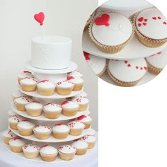 Brides: White Cupcakes with Scattered Hearts. When applied to a clean background of white fondant, scattered red hearts and heart-shaped balloons provide a strong graphic element that feels surprisingly modern. Heart Wedding Cakes, Heart Wedding Invitations, Wedding Cakes With Cupcakes, Themed Cupcakes, Cupcake Cakes, Decorated Cupcakes, Baby Cakes, Heart Cupcakes, White Cupcakes