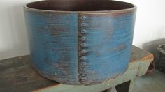 19th C Large Old Early Antique Wooden Pantry Measure Box ~ Early Blue Paint sold 257.00