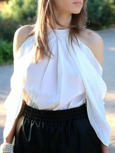 White Long Sleeve Cold Shoulder Blouse