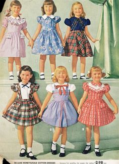 "I used to dress like this in kindergarten 'till about the third grade. Girls never wore pants to school.I didn't wear patten leather shoes,but I had to change out of my school shoes and clothes once I got home.I did have a plaid dress almost identical to ""D"" in this pic."