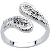 14K White Gold Black Cubic Zirconia Wrap Toe Ring