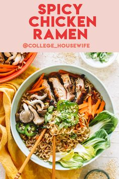 Easy Spicy Chicken Ramen Soup in the comfort of your own home in under a half-hour, what can be better? This easy ramen recipe is filled with carrots, Asian Noodle Recipes, Ramen Recipes, Cheesy Recipes, Asian Recipes, Chicken Recipes, Sweets Recipes, Ramen Broth, Ramen Soup, Ramen Noodles