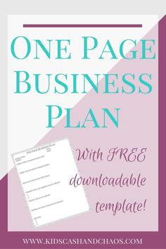 How to Write a One Page Business Plan Emma Lee Bates - Business Management - Ideas of Business Management - Create a One Page Business Plan for your small business. Perfect for the WAHM who wants to grow their business! One Page Business Plan, Small Business Start Up, Small Business Resources, Business Plan Template, Creating A Business, Business Help, Starting A Business, Business Planning, Online Business