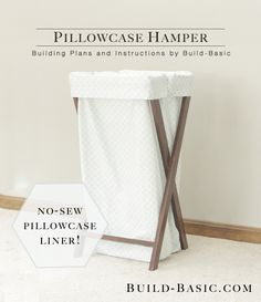 EASY No-Sew Pillowcase Hamper! All you need is a few 1x2s and two pillowcases! Two slots to separate white and colors. See full plans by @BuildBasic www.build-basic.com #DIY #Woodworking #Hamper #No-Sew