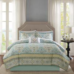 Madison Park Essentials Caitlin Aqua Complete Comforter and Sheet Set