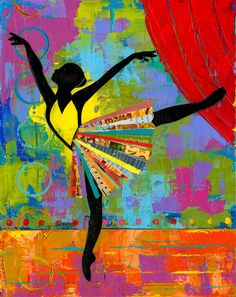 Colorful Black Ballerina Dancer Broadway impasto art of dance byartist Elizabeth Rosen