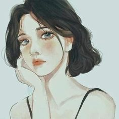 Hình ảnh nghệ thuật Girly Art, Short Hair Drawing, Cute Art, Art Girl, Illustration Art, Art, Portrait, Portrait Art, Aesthetic Art