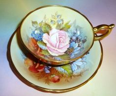 Signed Gold & Handpainted Floral Aynsley Tea Cup and Saucer Set
