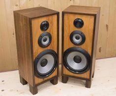 Speaker cabinet rebuild of my Sony speakers using walnut plywood and hickory. Sony Speakers, Wooden Speakers, Built In Speakers, Homemade Speakers, Walnut Plywood, Speaker Plans, Speaker Box Design, Hickory Wood, Hifi Audio