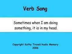 Verb Song 1:56 action verbs, helping verbs, thinking verbs, relating verbs, linking verbs.