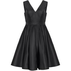 CHI CHI Curve Black Plus Size Deep V-neck pleated dress ($86) ❤ liked on Polyvore featuring dresses, black, plus size, pleated dress, v neck a line dress, circle skirt, little black dress and plus size circle skirt