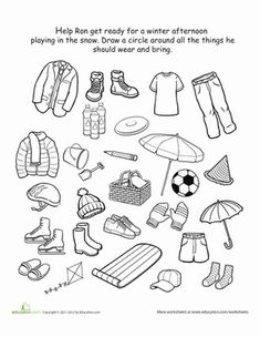 Kindergarten Winter worksheets | Winter Kindergarten Life Learning Worksheets: How to Dress for Winter