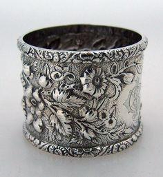 Repousse Coin Silver Allover Floral Napkin Ring 1880 Monogram CBI