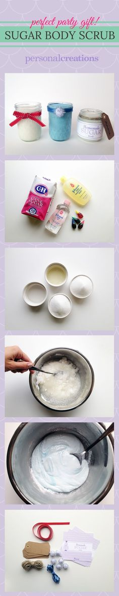 DIY Sugar Body Scrub. Super easy and makes for a great party favor!