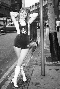 """Hot pants: Refers to what is now called """"short shorts"""". Mary Quant is often credited for pitching the idea of hot pants at the end of the and they became popular because women started dressing more revealing. Vintage Outfits, 70s Vintage Fashion, 60s And 70s Fashion, Vintage Mode, Vintage Boots, Fashion Fashion, Fashion Ideas, Vintage Humor, Fashion Black"""