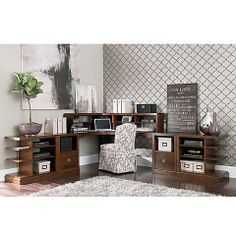"""Bassett Furniture's, """"Small Spaces"""" 7 Piece Corner Office Wall"""