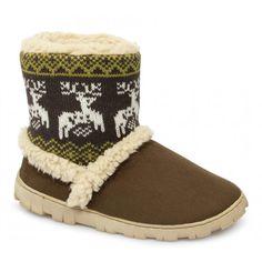 Divaz DENMARK Ladies Boot Slippers Brown