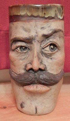 Mustache Mug - Ceramic - Sara E. Morales  #ceramic #pottery #stein #mustache