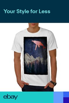 Artsy Fish Graphic Design Printed Tee Wellcoda Fantasy Whale Fly Mens T-shirt