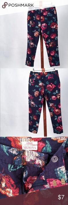 Merona Stretch Cotton Slim Leg Pants Like New. Women's Size 2. W28/L25. 97% cotton/3% spandex.  Navy blue w/ multi-colored rose print (red, pink, green). 2 front & 2 back pockets. Zipper, double clasp, and button enclosure.  The comfort of cotton combined with a classic cut. Merona Pants Ankle & Cropped
