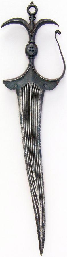 Indian chilanum dagger, 17th century, steel, H. 13 11/16 in. (34.8 cm); W. 3 1/2 in. (8.9 cm); Wt. 7.3 oz. (207 g), Met Museum, Bequest of George C. Stone, 1935.