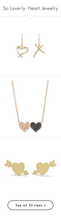 """""""So Love-ly: Heart Jewelry"""" by polyvore-editorial ❤ liked on Polyvore featuring heartjewelry, jewelry, earrings, metallic, 18k earrings, heart earrings, cross earrings, gold stud earrings, neon earrings and necklaces"""