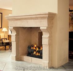 Provence Limestone Fireplaces, Beige Limestone Fireplaces