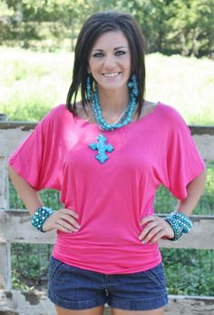 Fuchsia Simple Tunic- NOW IN PLUS SIZE $14.95 www.gugonline.com