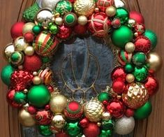 Christmas Ornament Wreath in Red, Gold and Green- Front Door Ornament Wreath - Christmas Wreath -Holiday Ornament Wreath - Mantle Decoration Christmas Ornament Wreath, Decoration Christmas, Etsy Christmas, Christmas Items, Christmas Balls, Holiday Ornaments, Holiday Crafts, Christmas Mantles, Silver Christmas