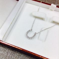 """14K White Gold Horse Shoe Necklace with Diamonds 14K Horseshoe Necklace. 16"""" Chain. 10 diamonds on Horseshoe Pendant. Jewelry Necklaces"""