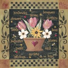 This is one of two lovely flower arrangements in pot. Great for decoupage or to frame as a set. Ladybug Garden, Poster Prints, Art Prints, Nature Prints, Floral Flowers, Country, Vintage Floral, Flower Pots, Flower Arrangements