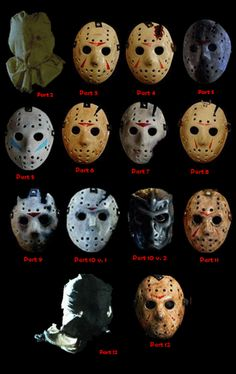 Horror Movies: Evolution Of The Jason Voorhees Mask Arte Horror, Horror Art, Chucky, Jason Voorhees Hockey Mask, Horror Movie Characters, Slasher Movies, Horror Icons, Iconic Movies, Classic Horror Movies