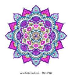 Vector hand drawn doodle mandala with hearts. Ethnic mandala with colorful ornament. Illustration on doodle style: compre este vector en Shutterstock y encuentre otras imágenes. Mandala Art, Mandala Drawing, Mandala Painting, Dot Painting, Mandala Design, Mandala Coloring Pages, Hippie Art, Ganesha, Hamsa