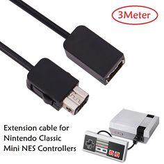 3 m pies de alambre Cable de Extensión de Controlador de Juegos para Wii/Mini NES Nintendo Clásico cable de extensión de controlador