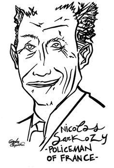 Il presidente francese Sarkozy, in bilico alle prossime elezioni, disegnato da Gianluca Costantini
