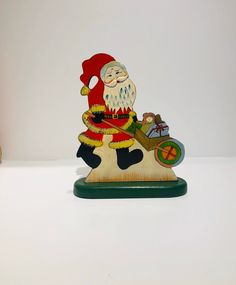 Excited to share this item from my shop: Vintage Santa hand painted napkin holder, Vintage Christmas Decorations Vintage Santas, Vintage Christmas, Festival Decorations, Christmas Decorations, Wooden Decor, Father Christmas, Handmade Items, Handmade Gifts, Flower Vases