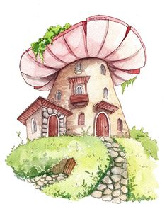 Fairy Drawings, Art Drawings Sketches, Cute Drawings, Mushroom Drawing, Mushroom Art, Pretty Art, Cute Art, Art Journal Inspiration, Art Inspo