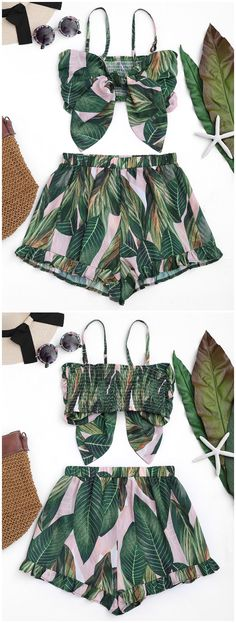Up to 80% OFF! Bowknot Leaf Print Smocked Top With Ruffles Shorts. #Zaful #CoverUps zaful,zaful outfits,zaful dresses,spring outfits,summer dresses,Valentine's Day,valentines day ideas,cute,casual,classy,lace,mesh,fashion,style,swimwear,swimsuits,beach cover ups,swimsuit cover,jumpsuits,rompers,playsuits,dressy jumpsuits,playsuits two piece,two piece outfits,two piece dresses,dresses,printed dresses,sundresses,long sleeve dresses,mini dresses,maxi dresses @zaful Extra 10% OFF Code:ZF2017