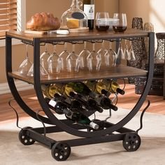 Baxton Studio Triesta Medium Brown and Bronze Wine Cart with Wine Glass Storage - The Home Depot Wine Glass Storage, Wine Glass Rack, Wine Racks, Wine Cart, Wood Table Rustic, Serving Trolley, Mobile Bar, Vintage Industrial, Industrial Metal