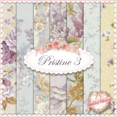 "Pristine 3  7 FQ Set by Robert Kaufman: This pretty floral fabric is from the Pristine 3 collection by Robert Kaufman.  100% cotton, printed in South Korea.  This set contains 7 fat quarters, each measuring approximately 18"" x 21""."