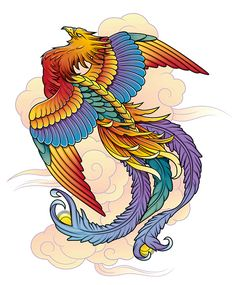 Phoenix/Firebird on Behance Phoenix Artwork, Phoenix Images, Tattoo Design Drawings, Bird Drawings, Color Pencil Picture, Japanese Phoenix Tattoo, Fenix Tattoo, Rising Phoenix Tattoo, Nurse Art