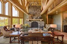 Great Room with log trusses